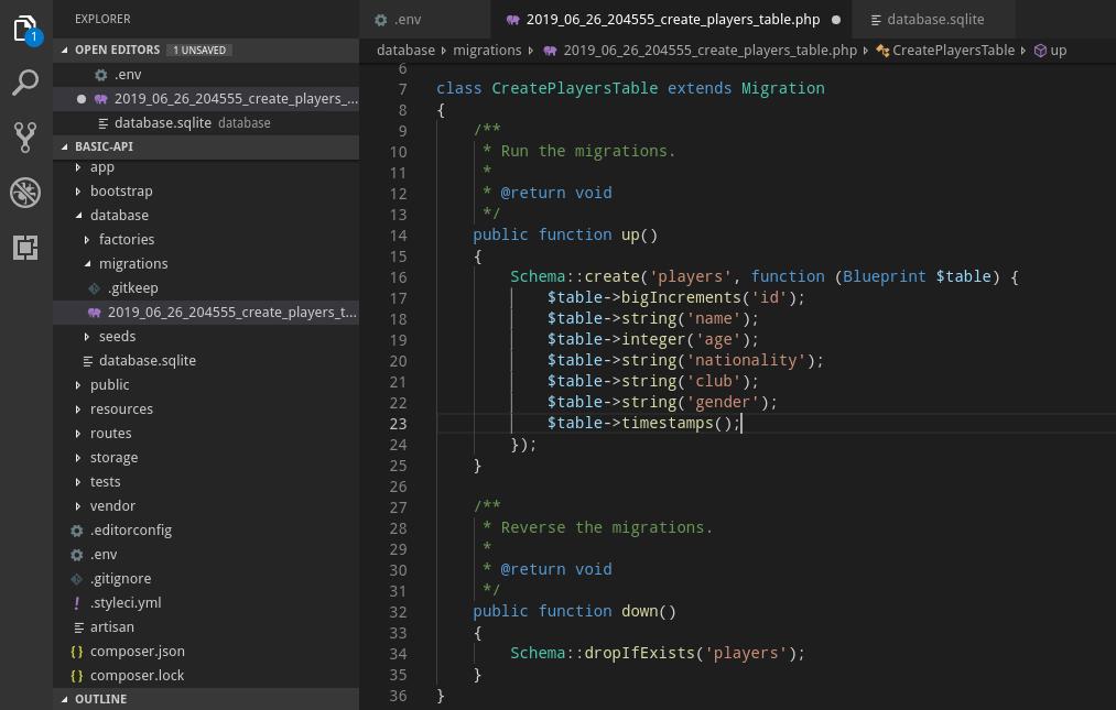 Lumen API migration file
