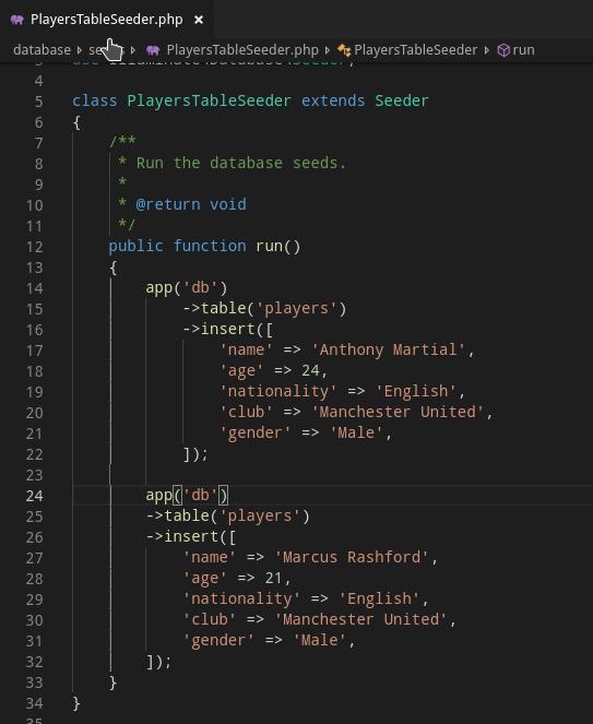 Lumen API Seeding File Example