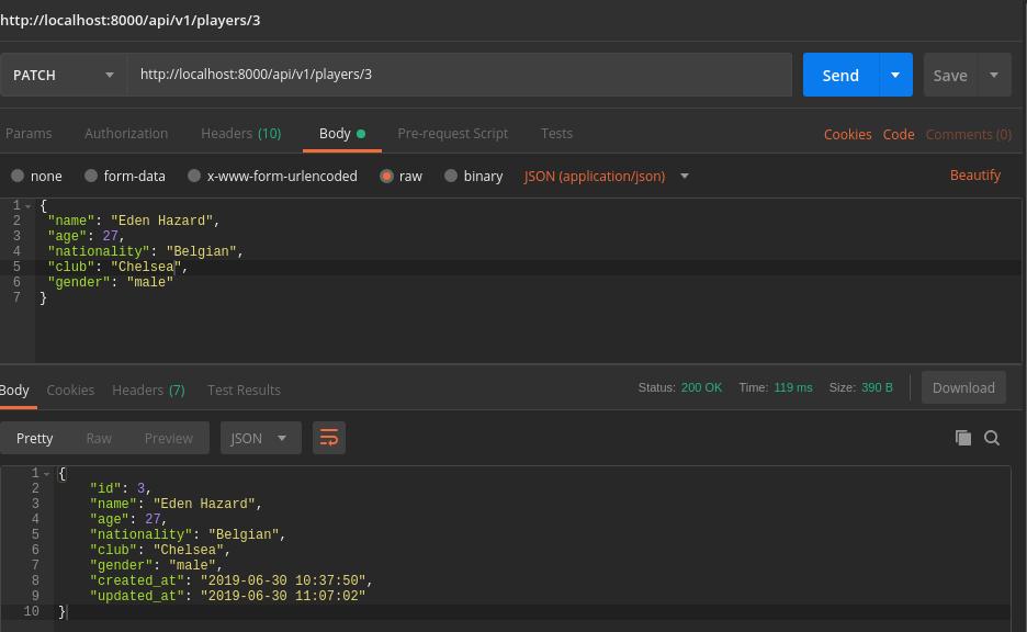 Lumen API test update function in Postman - success